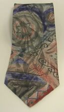 Wembley Tie of Soft Green, Blue and Rusty Red in an Abstract Pattern