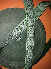 10 yds SCA,RENAISSNACE,CELTIC JACQUARD RIBBON TRIM Lt green WONDERFUL RIBBON