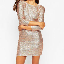 PARTY PETITE Embellished Bodycon Cowl Back BRANDED Cocktail Dress NUDE UK8/EU40
