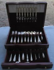68Pc LG Complete Set for 8 Stieff Sterling Silver Rose Flatware w Serving & Box
