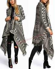 LADIES WATERFALL AZTEC TRIBAL DRAPE KIMONO TASSEL FRINGED CARDIGAN SIZE 8-16
