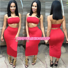 Women Sexy Club Strapless Crop Tops 2Pc Set Outfits Bandgae Bodycon Party Dress