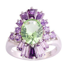 Oval Green Amethyst & Amethyst Purple New Fashion Jewelry Silver Ring Size 10