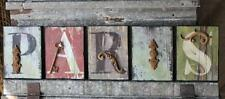 5 Piece PARIS Sign – Embellished with Found Objects and Iron Garden Elements