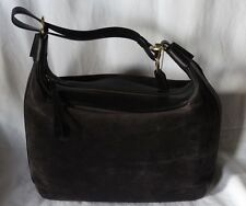 Vintage Coach Suede And Leather Structured Hobo Grey Suede With Black 6958 Rare