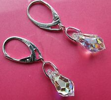 925 STERLING SILVER EARRINGS WITH SWAROVSKI ELEMENTS-Crystal AB 15 mm Drop