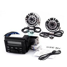 Motorcycle Audio Player FM MP3 iPod Radio Sound System Stereo w 2 Speakers 12V