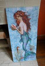 3 FT. MERMAID CONCH SHELL Seahorse Seashells Starfish Beach Home Decor Sign -NEW