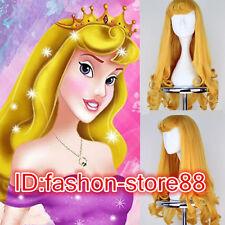 Disney Sleeping Beauty Aurora Princess Long Wavy Curly Bangs Hair Cosplay Wig