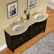 72-inch Cream Marfil Marble Stone Top Bathroom Vanity Double Sink Cabinet 0717CM