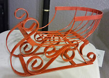 "Beautiful Red Metal Christmas Sled Sleigh Display Figure Doll Decor 12"" x 7.7"""