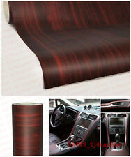 45x120CM Autos Wood Grain Texture Decal Bubble Free Air Release Sticker Teak Red