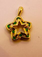 VINTAGE 14K YELLOW  GOLD STAR PENDANT ~ CHARM WITH EMERALDS  & DIAMONDS