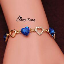 Blue coloured Heart shaped Lover Women's Girl's Bracelet Chain Bracelet Bangle