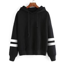 Womens Sports Long Sleeve Hoodie Sweatshirt Jumper Hooded Pullover Tops Blouse
