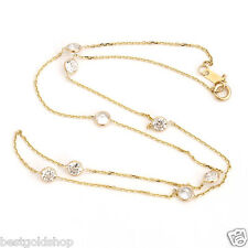 """20"""" Bezet Set  CZ by the Yard Cable Chain Necklace 14K Yellow Gold Clad Silver"""