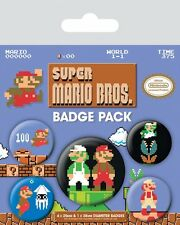 Button Badge 5er Pack SUPER MARIO BROS. - Nintendo 1x38mm & 4x25mm 80442 NEU