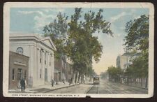 Postcard BURLINGTON New Jersey/NJ  High Street City Hall & Business Storefronts