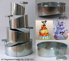 "Topsy Turvy 4 Tier Round Cake Pans Tins New Design By EuroTins 6"" 8"" 10"" 12"""