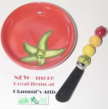 Italian Olive Oil Bread Dipping Dip Tomato Dish Bowl Knife Spreader Party Set sm