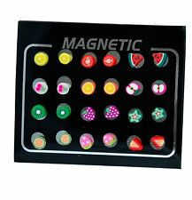 12 Pairs Set MAGNETIC clip on Earrings Studs Kids Childrens Girls Cute Fruits