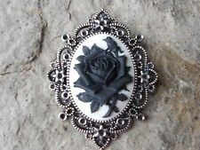 BLACK ROSE ON WHITE CAMEO PENDANT - GOTH, GOTHIC, STEAMPUNK, MOURNING