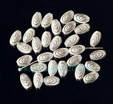 30Pcs Tibetan Silver Flat Oval Loose Spacer Beads Finding 9mm