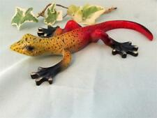 LIZARD GECKO Red Yellow Black Colorful Hand Painted Resin Garden Sculpture