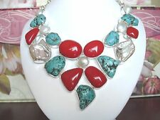 Red Coral Turquoise Nugget Biwa Freshwater Pearl Bib Necklace .925 Silver 22""