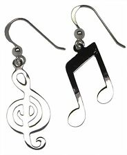 Pair of MUSIC NOTE and G CLEF EARRINGS 925 Sterling SILVER 38mm Drop