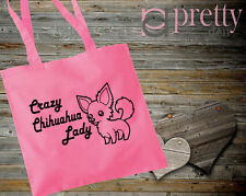 Crazy Chihuahua Dama Rosa Bolso Lona Regalo Recuerdo Novedad Broma perro