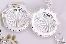 925 Sterling Silver Sea Shell Locket Pendant Necklace Photo Chain Gift Box