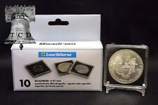 10 ✯ ASE Silver Eagle Coin Snap Capsule 41mm LIGHTHOUSE QUADRUM 2x2 Case Display