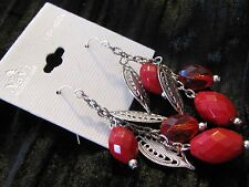Navi Accessories Red Beads & Silver Leaves Pierced Drop Dangle Earrings