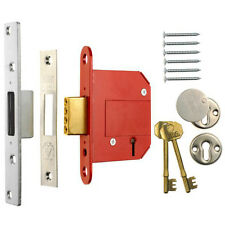 "ERA Fortress 26161 BS 5 Lever Deadlock Satin Chrome 64mm(2.5"") Mortice Door Lock"