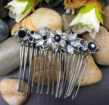 Silver tone elegant wedding blue color crystal  bridal hair comb ha27225blue