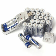 24PCS AA 3000mAh 1.2V Ni-Mh Rechargeable BTY Battery + 2A 3A USB Ni-MH charger
