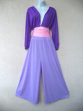 vtg NYLON PALAZZO JUMPSUIT Lingerie Lounge Gown Silky Plunging Colorblock L