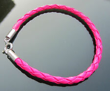4 mm Neon Colours Braided Leather Cord Bracelets with Sterling Silver Clasp