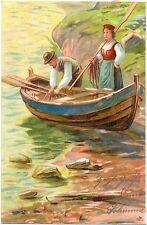 Mann, Frau, Boot, Fischer, Fischerei, Farb-Litho, 1905