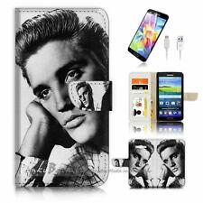 Samsung Galaxy Grand Prime Flip Wallet Case Cover! P0026 Elvis Presley