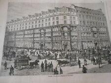 Gravure 1872 - Paris Les Grands Magasins du Tapis Rouge