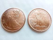 1 OZ moneta di rame-WALKING LIBERTY-GOLDEN state MINT!