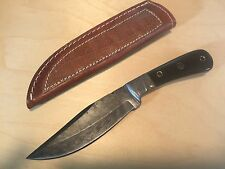 Hand Made Fixed Blade Damascus Hunting Knife Buffalo Horn Handle Leather Sheath