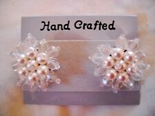 HAND CRAFTED FAUX PEARL & WHITE PLASTIC CRYSTAL BEAD HUGGIE POST EARRINGS