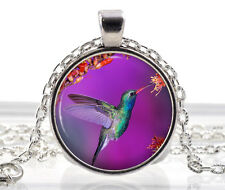 Hummingbird Purple Pendant Necklace - Silver Bird Jewelry Woodland Gift for Her