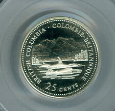 1992 CANADA B.C. SILVER 25 CENTS PCGS PR69 ULTRA HEAVY CAMEO FINEST GRADED *