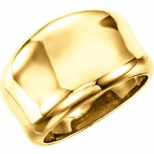 14 KT Yellow Gold Polished Heavy Concave Design Wide Cigar Band Ring NEW