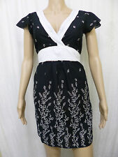 ETHEL AUSTIN Ladies Short Dress Black White Cotton Size 10