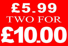 £5.99 Two For £10 Pound Sale Rail Sign Card Retail Shop Display-High Quality